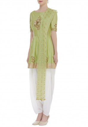 Embroidered Chanderi Silk Punjabi Suit in Light Olive Green