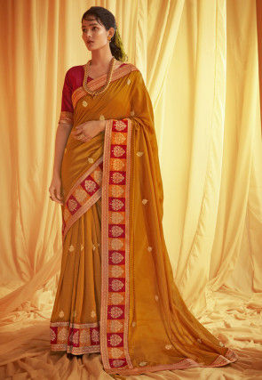 Embroidered Chanderi Silk Saree in Mustard
