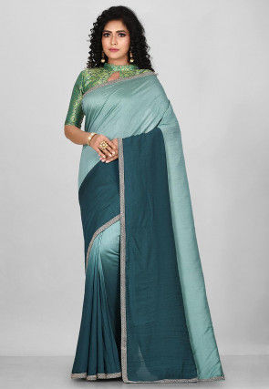 Embroidered Chanderi Silk Saree in Shaded Green