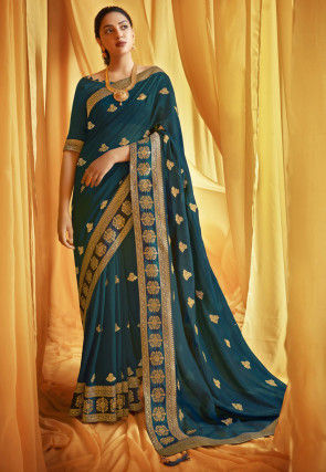 Embroidered Chanderi Silk Saree in Teal Blue