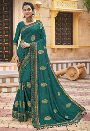 Embroidered Chanderi Silk Saree in Teal Green