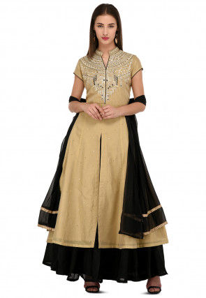 Embroidered Chanderi Silk Sharara Lehenga in Beige