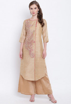 Embroidered Chanderi Silk Short Dress in Beige