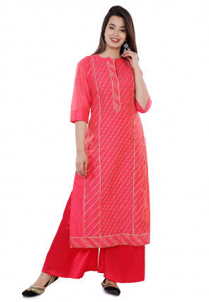 Embroidered Chanderi Silk Straight Kurta Set in Coral Pink