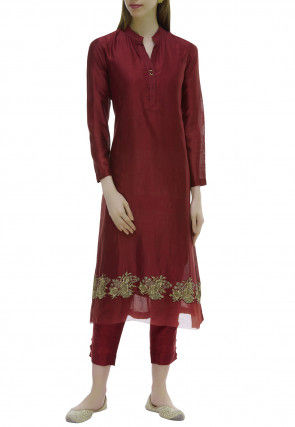 Embroidered Chanderi Silk Straight Kurta Set in Maroon