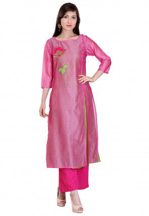 Embroidered Chanderi Silk Straight Kurta Set in Pink