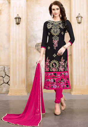 Embroidered Chanderi Silk Straight Suit in Black