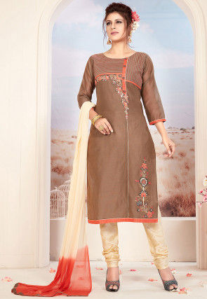 Embroidered Chanderi Silk Straight Suit in Brown
