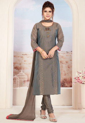 Embroidered Chanderi Silk Straight Suit in Dark Fawn