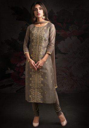 Embroidered Chanderi Silk Straight Suit in Fawn