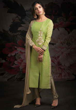 Embroidered Chanderi Silk Straight Suit in Green