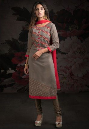 Embroidered Chanderi Silk Straight Suit in Grey