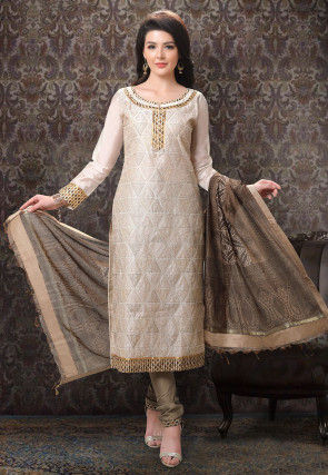 Embroidered Chanderi Silk Straight Suit in Light Beige