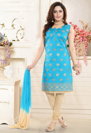 Embroidered Chanderi Silk Straight Suit in Light Blue