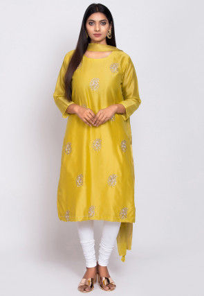 Embroidered Chanderi Silk Straight Suit in Light Olive green