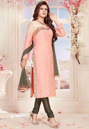 Embroidered Chanderi Silk Straight Suit in Light Pink