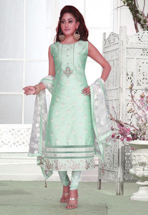 Embroidered Chanderi Silk Straight Suit in Sea Green