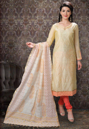 Embroidered Chanderi Silk Straight Suit in Light Yellow