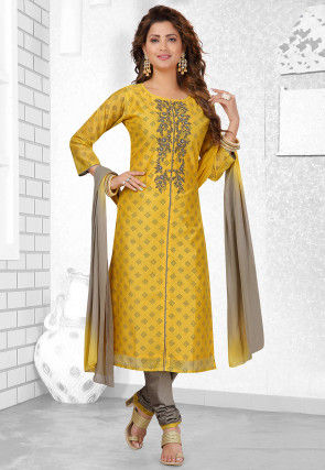 Embroidered Chanderi Silk Straight Suit in Mustard