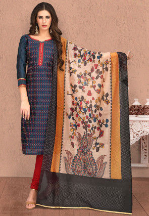 Embroidered Chanderi Silk Straight Suit in Navy Blue