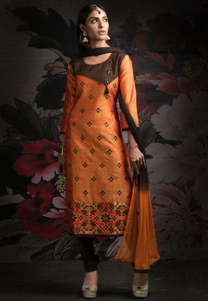 Embroidered Chanderi Silk Straight Suit in Orange and Brown