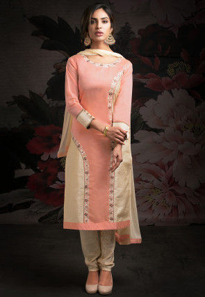 Embroidered Chanderi Silk Straight Suit in Peach