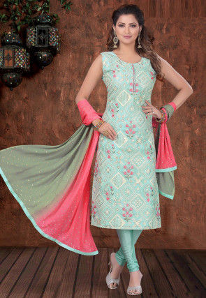 Embroidered Chanderi Silk Straight Suit in Sky Blue