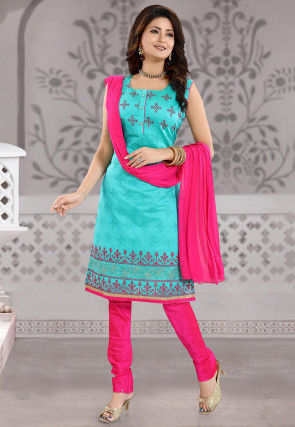Embroidered Chanderi Silk Straight Suit in Turquoise