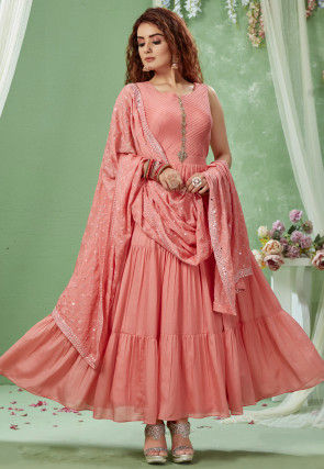 Embroidered Chanderi Silk Tiered Abaya Style Suit in Peach
