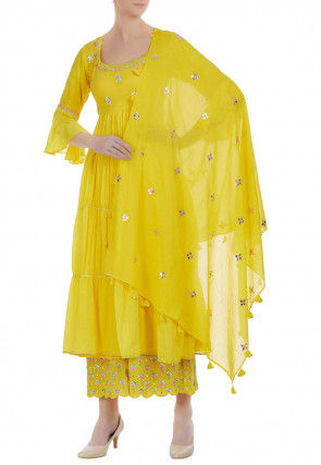 Embroidered Chanderi Silk Tiered Pakistani Suit in Yellow
