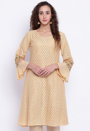Embroidered Chantelle Net A Line Kurta in Beige