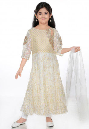 Embroidered Chantelle Net Anarkali Suit in Off White