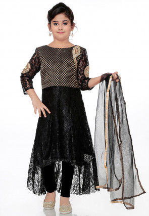 Embroidered Chantelle Net High Low Anarkali Suit in Black