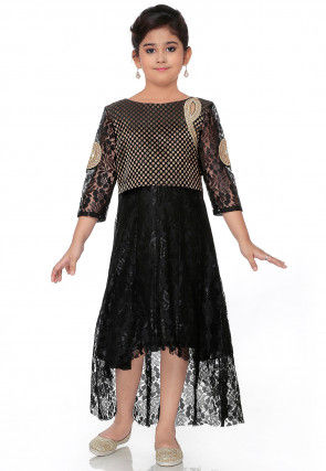 Embroidered Chantelle Net High Low Dress in Black