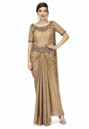 Embroidered Chantelle Net Saree Style Gown in Beige