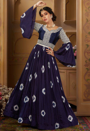 Embroidered Chiffon Abaya Style Suit in Dark Blue