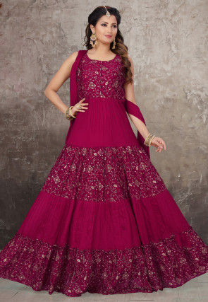 Embroidered Chiffon Abaya Style Suit in Fuchsia