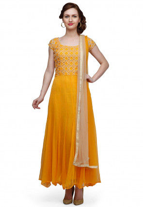 Embroidered Chiffon Abaya Style Suit in Yellow