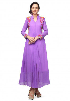 Embroidered Chiffon Anarkali Kurta in Light Purple