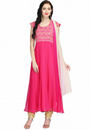Embroidered Chiffon Anarkali Suit in Fuchsia