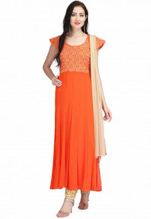Embroidered Chiffon Anarkali Suit in Orange