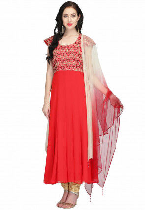 Embroidered Chiffon Anarkali Suit in Red