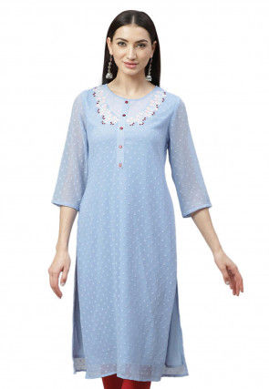 Embroidered Chiffon Brasso Kurta in Pastel Blue