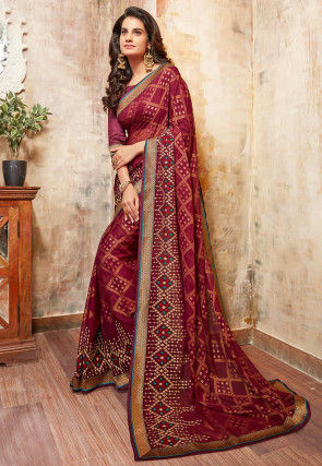 Embroidered Chiffon Brasso Saree in Maroon