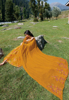 Embroidered Chiffon Brasso Saree in Mustard