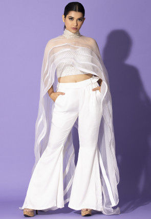 Embroidered Chiffon Cape with Pant in Off White