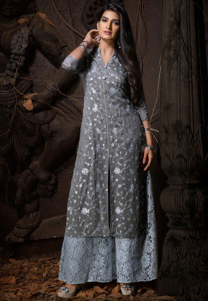 Embroidered Chiffon Front Slitted Kurta in Dark Grey