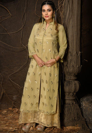 Embroidered Chiffon Front Slitted Kurta in Light Olive Green