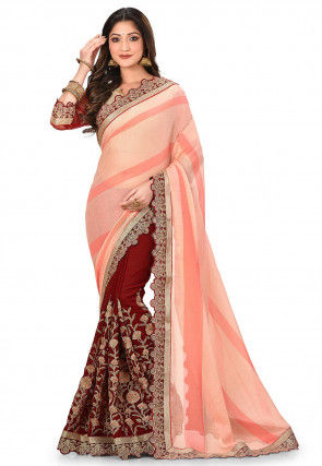 Embroidered Chiffon Half N Half Saree in Peach and Maroon