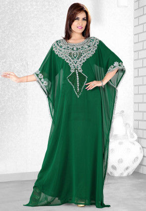 Embroidered Chiffon in Dark Green